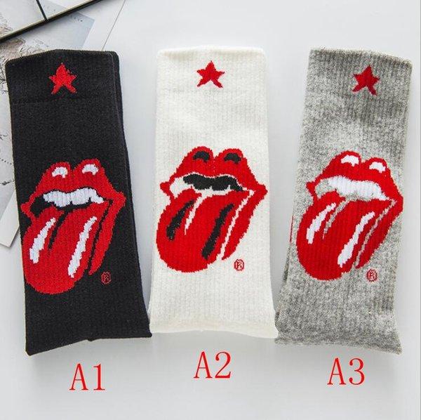 Los labios de las mujeres calcetines de moda lengua grande ocasional del algodón de alta calidad de la manera Calcetines estilo de la universidad de los pares calcetines de la historieta