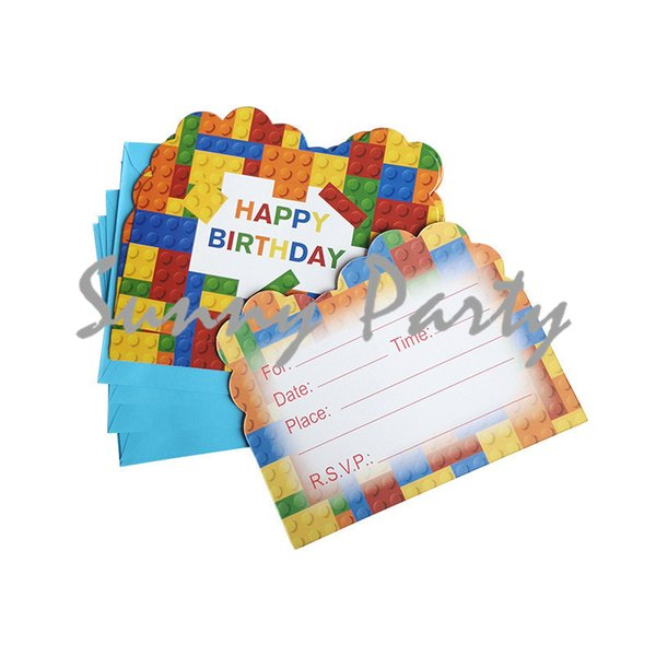 Color Building Blocks Theme Party Invitation Card Kids Birthday Baby Shower Partyinvitation Card Party Supplies Online Christmas Cards Free Online