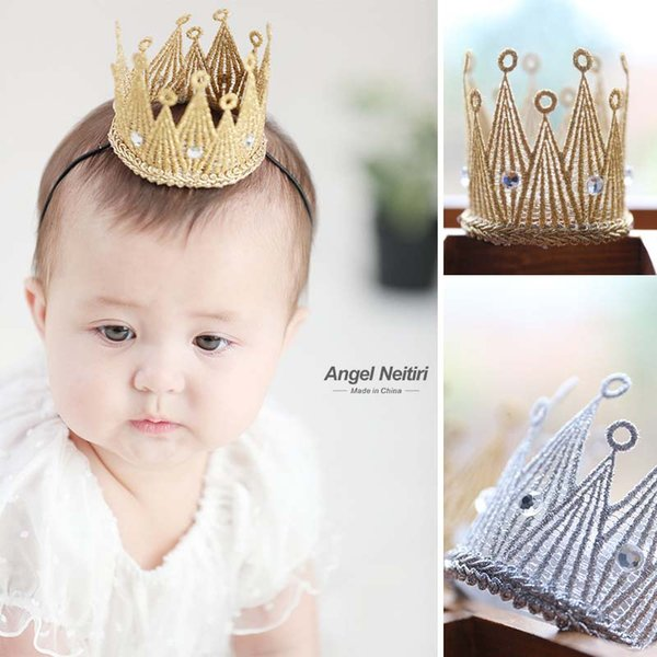 Wholesale Fashion Korean Crown Baby Headbands Birthday Party Crown Girls Hair Sticks Gold Infant Hair Bands baby girl hair accessories A1824