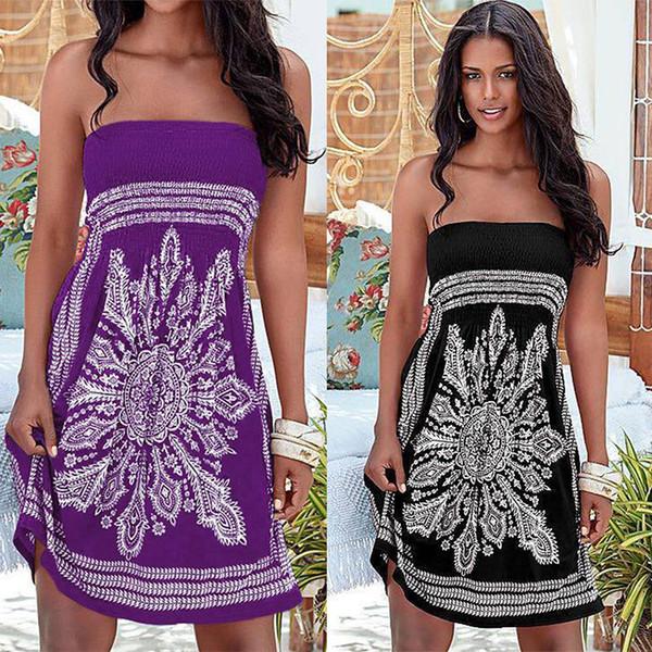 Vestido sin mangas con estampado floral estilo bohemio de playa para mujer Vestido de playa Vestido de playa 15 Color Seleccione el tamaño (S-XL) OM1004