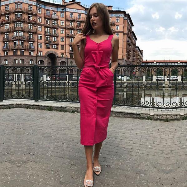 New 2018 Summer Dress New Fashion Sleeveless Streetwear Casual Slim Sashes Dresses Knee-Length Red Yellow Black Dress Vestidos