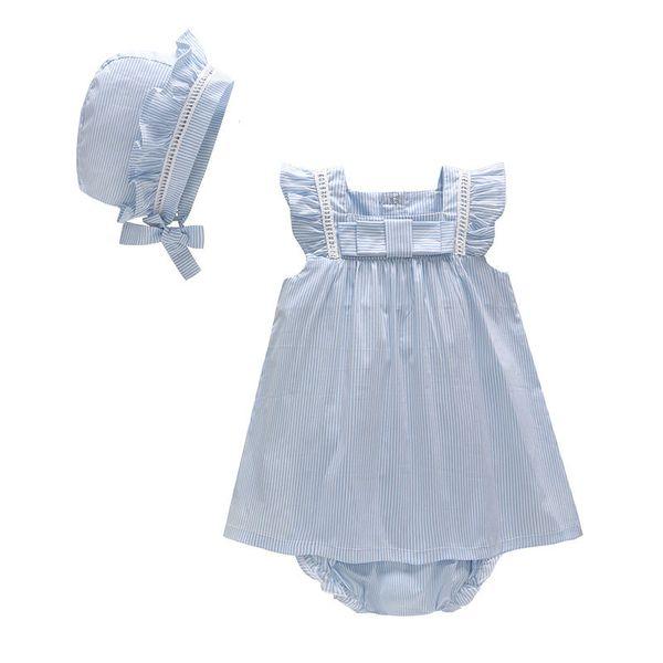 Children's Set 2019 Summer Cute blue white Striped Flying Sleeve girl's Dress& hat& underwear Three-Piece Set baby lace cotton skirt