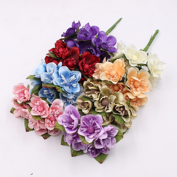 6pcs Silk Sakura Artificial Poppy Bouquet Wedding Home Decoration DIY Wreath Scrapbook Handicraft Craft Fake Flower