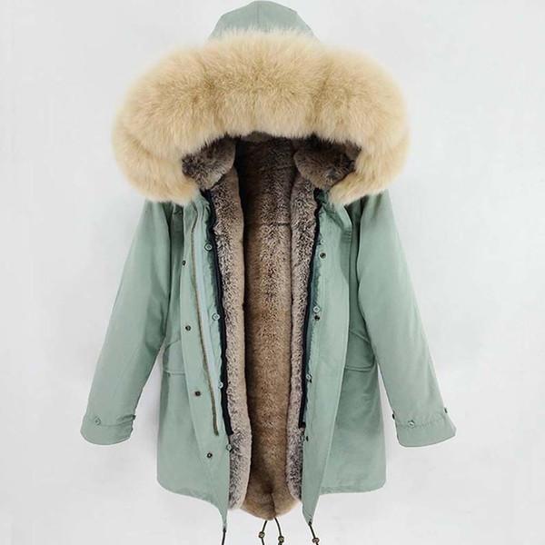 100% Real Raccoon Fur Collar women jacket camouflage black Long parkas & cotton faux fur lining coat jacket Y190912