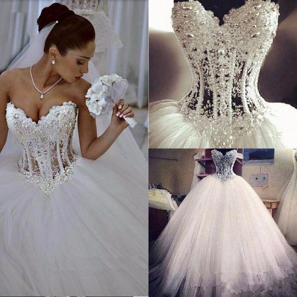 Espartilho frisado vestido de baile vestidos de casamento bling querida pérolas puffy tule vestidos de noiva ver através de cima lace up país vestido de noiva 2019
