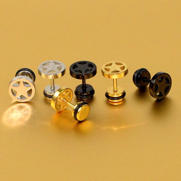 European And American Fashion Titanium Steel Earrings Stainless Steel Five-Pointed Star Earrings Men's Trend Personality Earrings Wholesale