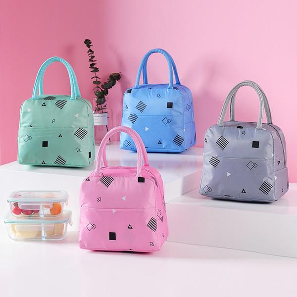 Impresso Reutilizável Lancheira Sacola Isolada Lunch Bags Mercearia Bolsa para Mulheres Homens Crianças Trabalho Escola Piquenique Camping