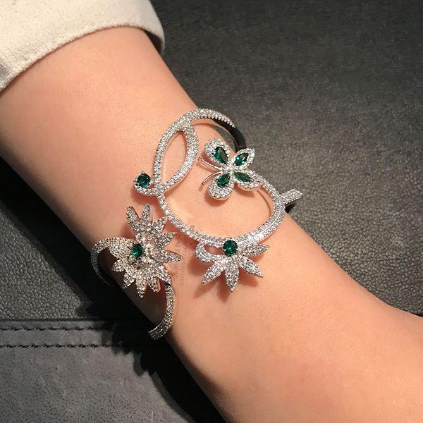 Luxury Crystal Mentha mint green zircon butterfly flower Bracelet Bangles Monaco Brand 925 sterling silver wide Bangles jewelry C19010501