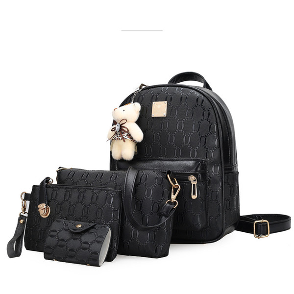Vintage pure color pu leather fashion simple casual backpack college style zipper open bag Lovely bear four-piece women backpack