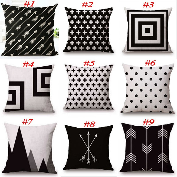 Black and White Pattern Pillowcase Cotton Linen Pillow Case Printed Geometry Euro Pillow Covers 18x18 Inches 22 Colors