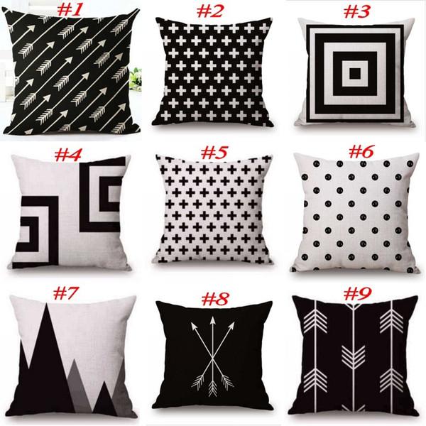 Funda de almohada en blanco y negro Algodón Lino Funda de almohada Geometría impresa Euro Fundas de almohada 18 x 18 pulgadas 22 colores