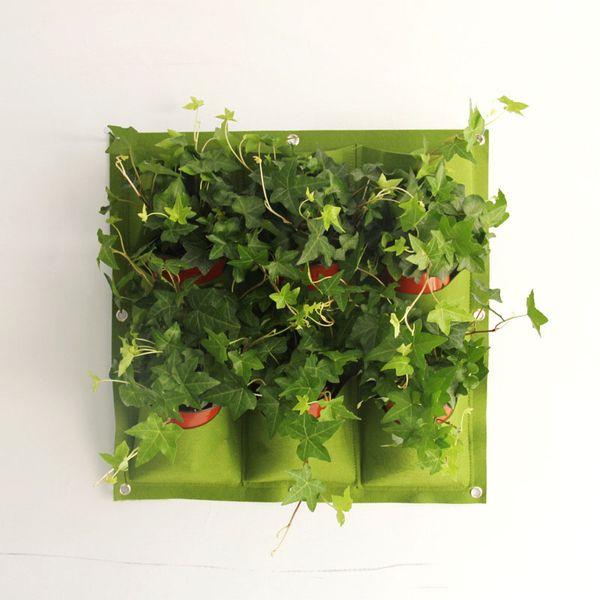 Tasche Blumentöpfe Pflanzgefäß Auf Wandbehang Vertikale Filz Gartenpflanze Decor Green Field Wachsen Container Taschen Outdoor 9 stücke
