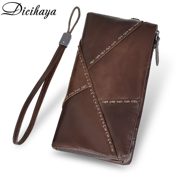 Dicihaya 100% Genuine Leather Wallet Men Long Vintage Cow Leather Casual Purse Brand Design High Quality Cutch Wallet Phone Bag Y19062003