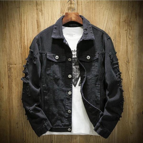 Para hombre de la chaqueta de dril de algodón de moda de moda Kanye West Hip Hop Streetwer Ripped Denim Chaqueta Jeans para hombre de la chaqueta masculina del vaquero Coats