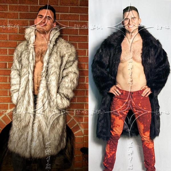Mens Real Fur Coat North Winter Faux Fur Outwear Windbreaker Both Side Coat Men Punk Parka Jackets Leather Brand Overcoats