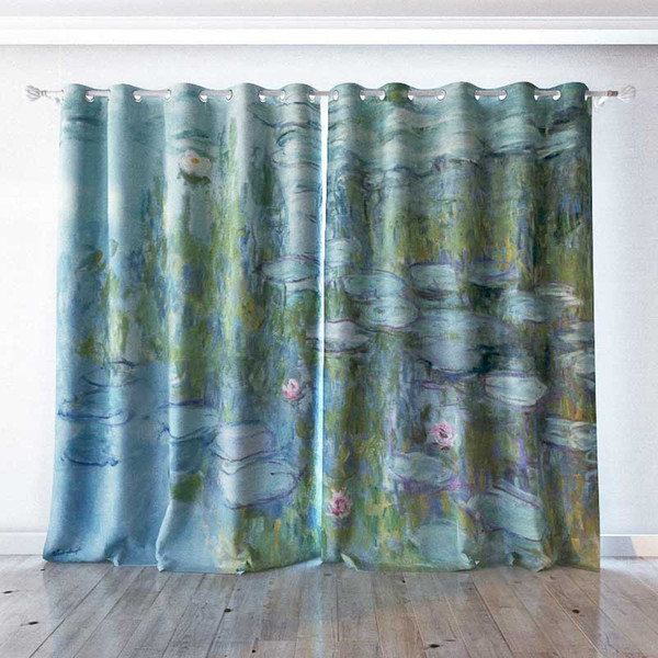 Personality Custom curtain world famous painting Water Lilies Claude Monet drapes Extra wide Blackout curtain party decoration background