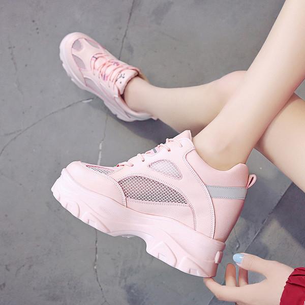 Femmes Sneakers Maille Casual Plateforme Trainers Blanc Chaussures 11CM Talons Printemps Compensé Respirant Femme Hauteur Augmentant Chaussures B127