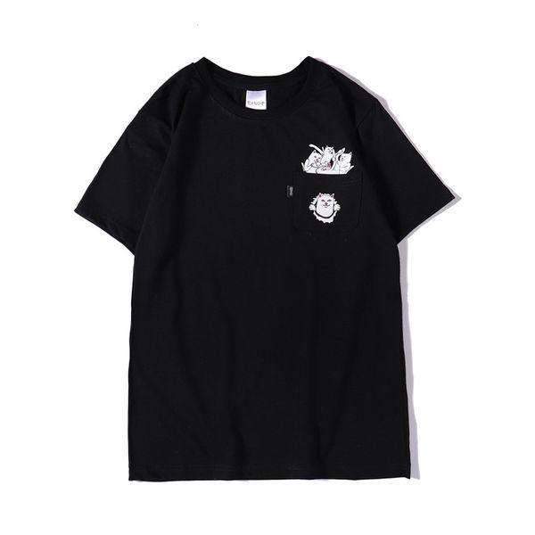 Erkek Tasarımcı T Gömlek 19ss Erkek Kadın Cep Kedi Baskı T Shirt Yaz Tasarımcı Yüksek Kaliteli Tees 3 Renk Boyutu S-2XL
