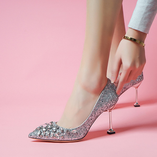 165f172ed853 Brand 2019 new high-heeled shoes with 8 cm cat pointed diamond women's  shoes sequins