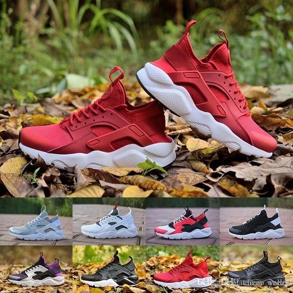 2018 Высокого качество Huarache 4 кроссовок для мужчин Женщины черной белой красной серых кроссовок Huaraches Беговых Спортивной обуви