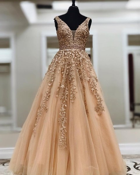 Dark Gold A-line Lace Tull Prom Dresses 2019 Deep V Neck Floor Length Teens Girls Formal Prom Party Gowns Beaded Belt Custom Made
