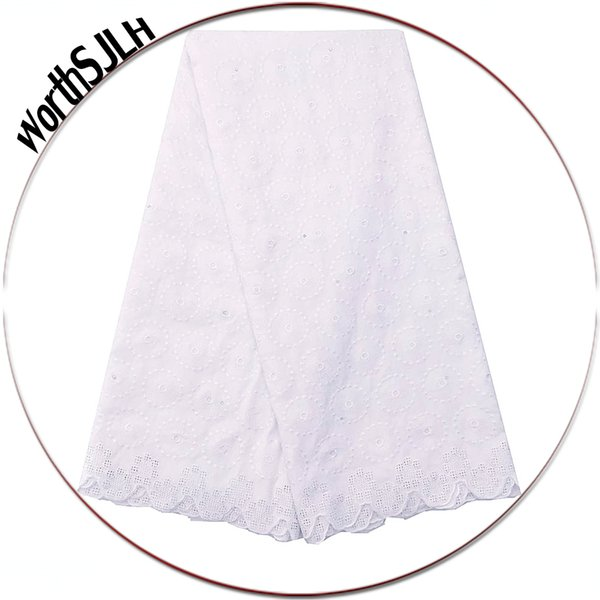 WorthSJLH Cotton African Lace Fabric 2018 Swiss Voile White Lace Fabric 2019 Nigerian Laces Fabrics Dry Lace With Stones