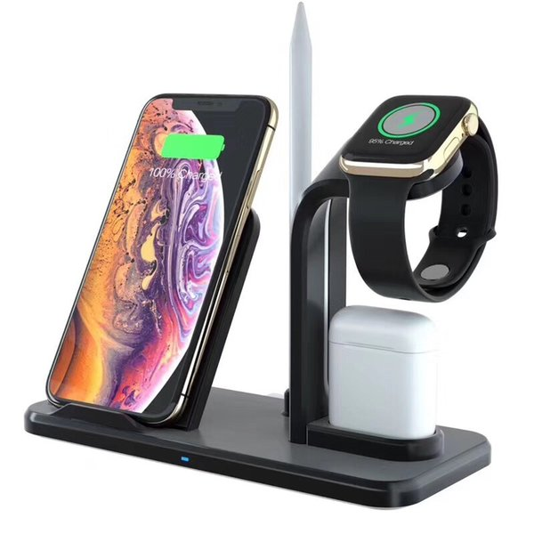 10 watt 4 in 1 drahtlose ladegerät handy halter stehen für iwatch apple watch bleistift airpods iphone 8 plus xs max xr lade basis