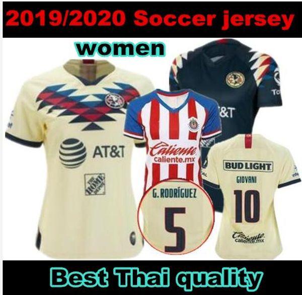 2019 2020 nueva MEXICO MUJERES Club América de fútbol camisetas de local de distancia 19 20 LIGA MX # 10 camisetas de fútbol GIOVANI # 22 P.AGUILAR Chivas Ladys femeninos