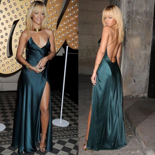 2019 Sexy Backless Dark Green Evening Dresses A Line Spaghetti Straps Cut Out Prom Dresses Gowns Custom Made Rihanna Celebrity Dresses