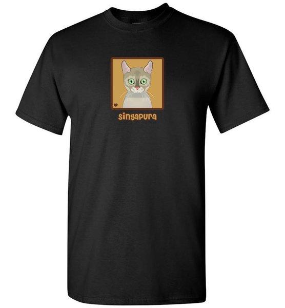 Singapura Cat мультфильм футболка Tee-мужчины женская молодежь танк с коротким длинным рукавом