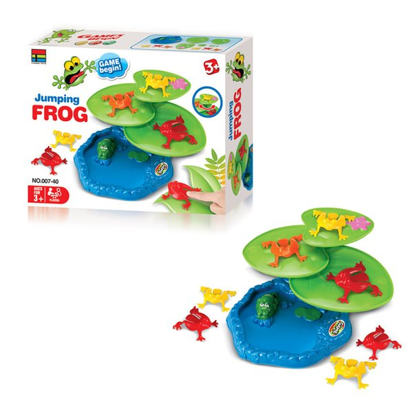 9pcs jumping frogs and 3pcs lotus leaves base jumping frog flipping frog board game Children's educational toys