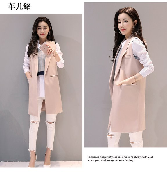 Women spring and autumn long vest coat Europen style waistcoat sleeveless jacket outwear casual top Roupa Female 4 Color S-XXL