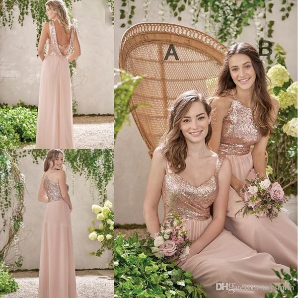 Rose Pink Long Bridesmaid Gowns A Line Spaghetti Backless Sequins Chiffon Cheap Wedding Guest Dress Maid of Honor Gowns