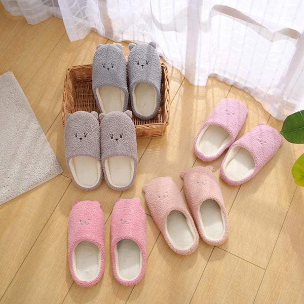 Autumn Winter Indoor House plush Women Slippers Cute Animal Soft Bottom Non-slip Floor Shoes Home Slippers Women Slides