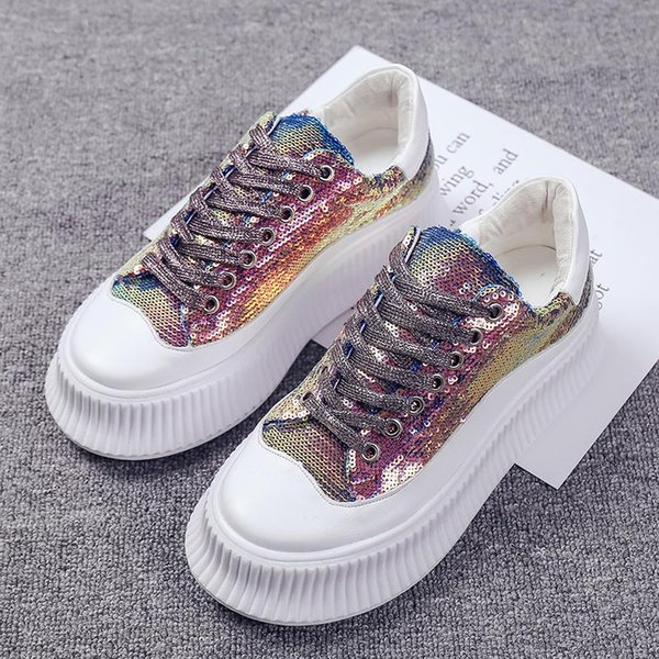 COOTELILI Spring Women Sneakers Flat Platform Casual Shoes Woman Flats Bling Lace Up Women Shoes Female Creepers