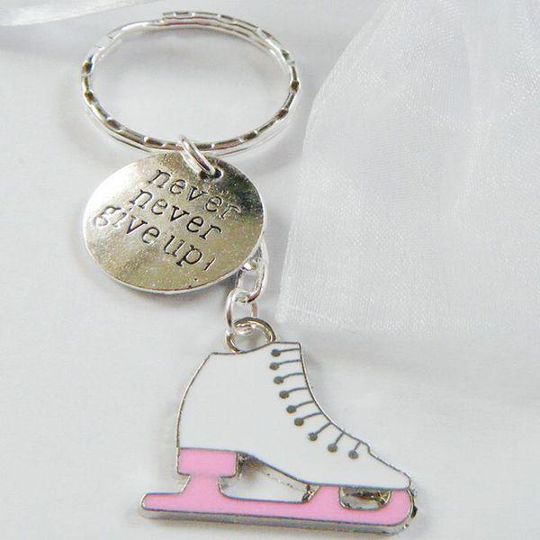 Never Never Give Up Lce Skater Skate Keychain Vintage Silver Figure Skating Key Chains Ring Key Car Bag Key Ring Handbag Gifts Souvenir