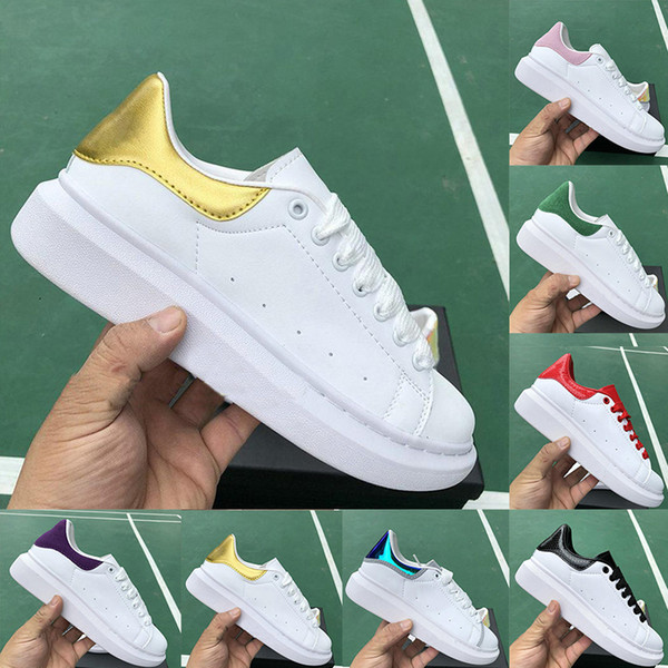 Mens Womens Fashion Luxury Designer Sneakers Vintage Lace up White Golden Casual Shoes Lady Girl Wedding Party platform flats Trainers