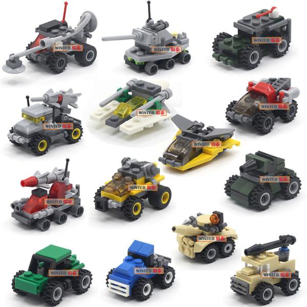 Mini carros bloco de construção de tijolos define tanque de quebra-cabeça exército tropas do exército veículo anti-terrorismo bombardeiro trator modelo figura carro militar