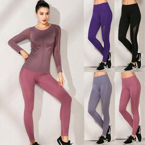 das Mulheres cintura alta Seamless Yoga Leggings estiramento Academia Gym Sports Pants comprimento total
