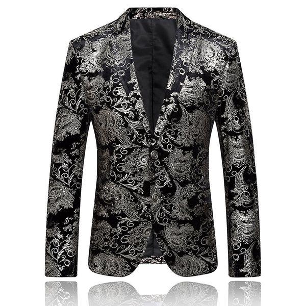 Traje blazer feitong Vestido de hombre Traje floral Solapa con muesca Botón de ajuste delgado Chaqueta con estilo Chaqueta Hombre masculino 2019
