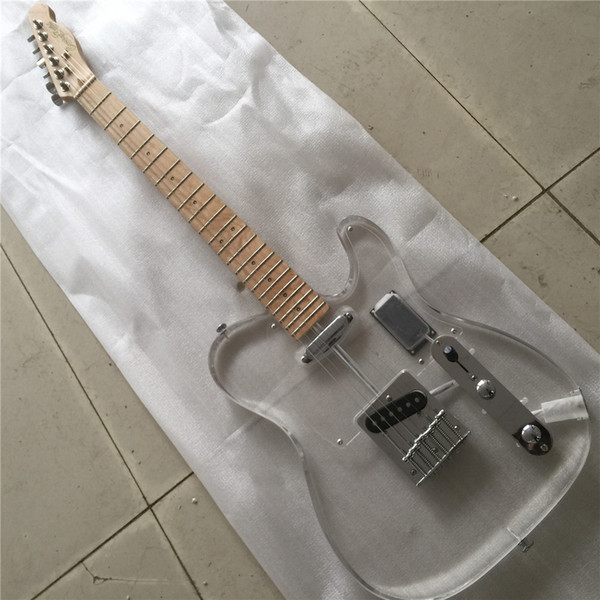 best selling Free ShippingHigh End Quality Acrylic body green Led Light tele Electric Guitar GuitarraHigh End Quality Acrylic body acrylic maple neck gre