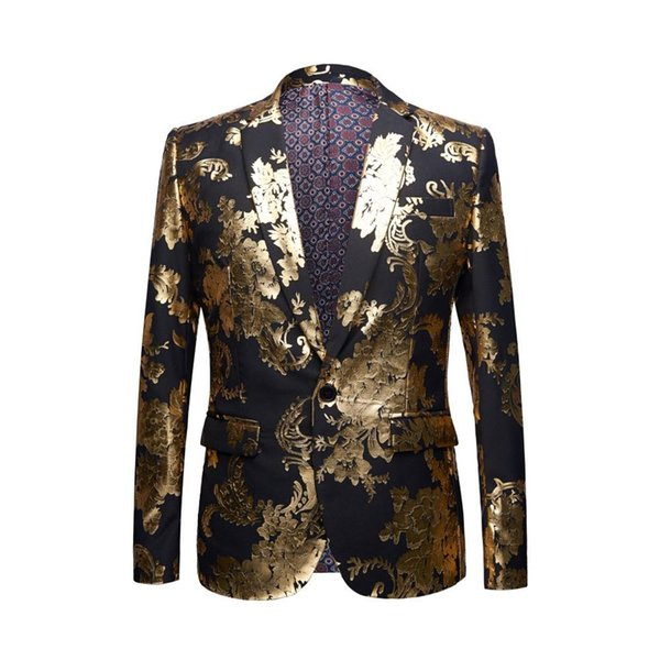 YUSHU Gold Pattern Slim Fit Blazer Plus Size 5XL Wedding Groom Suit Jacket DJ Club Stage Singer Party Costume