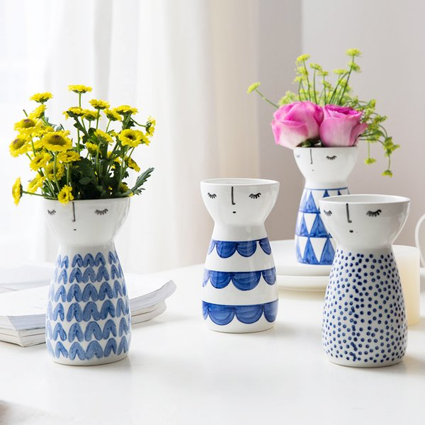 1pc Modern Cute Girl Design Ceramic Flower Vase Porcelain Figurine For Home Decor Wedding Gift Q190528