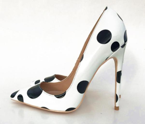 Compre Nuevo Tipo Negro Blanco Coloreado Punto De Onda Zapatos De Tacón Alto Para Mujeres 2019 Zapatos Individuales Zapatos De Discoteca 8 Cm 10 Cm 12