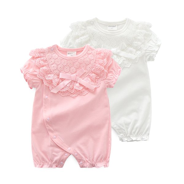 Princess Newborn Baby Girl Clothes Lace Flowers Jumpsuits Girls Rompers For 2019 Summer Baby Body Suits One-pieces J190525