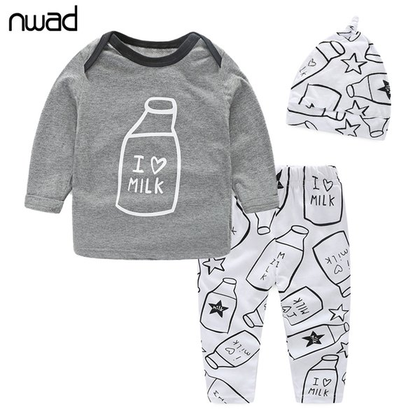 NWAD Milk Bottle Print baby boy clothes 3PCS/Set Newborn Baby Girls Clothes Set Fashion Long Sleeve T Shirt +Pant + Hat FF034 Y190515