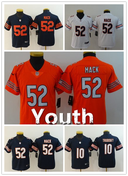 best loved 57e04 e58eb New Chicago Bears 52 Khalil Mack Youth Football Jersey Stitched Embroidery  10 Mitchell Trubisky Kids Color Rush Jersey Bears Boys Jerseys Customize ...
