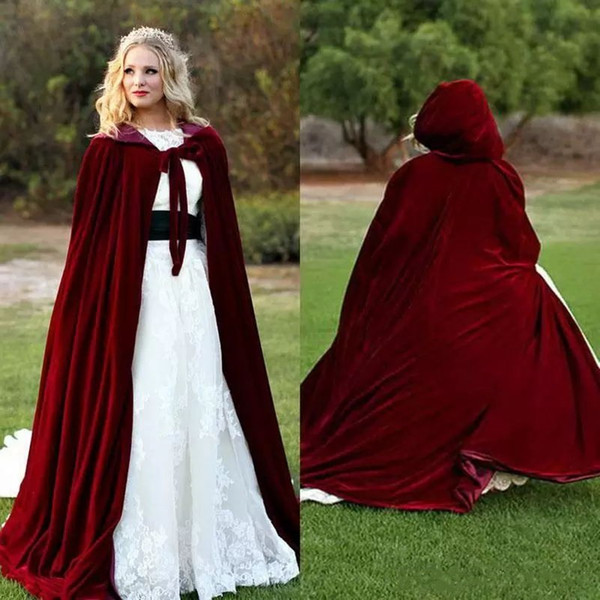 New 2018 Burguny Velvet Hooded Cloak A Line Sweep Train Lace-up Front Neck Evening Dress Cape