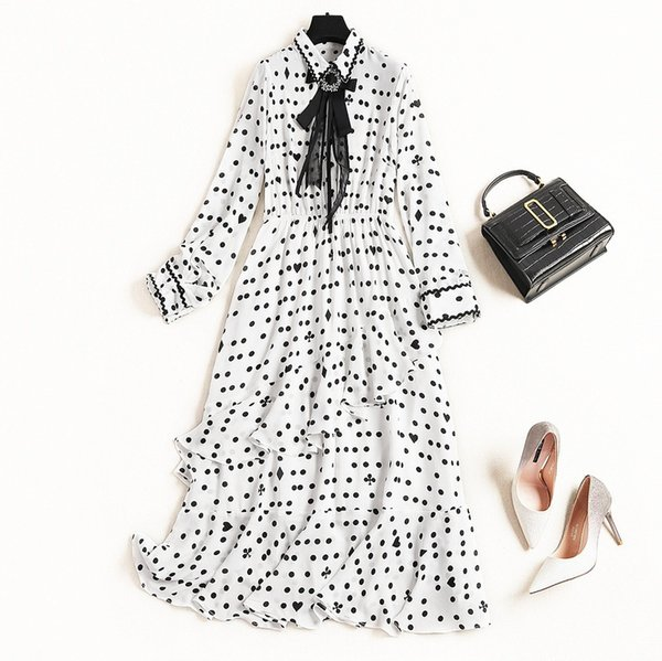 2019 Spring Luxury Long Sleeve Turn-Down Collar Polka Dot Print Chiffon Ribbon Tie-Bow Mid-Calf Dress Fashion Casual Dresses D2410039