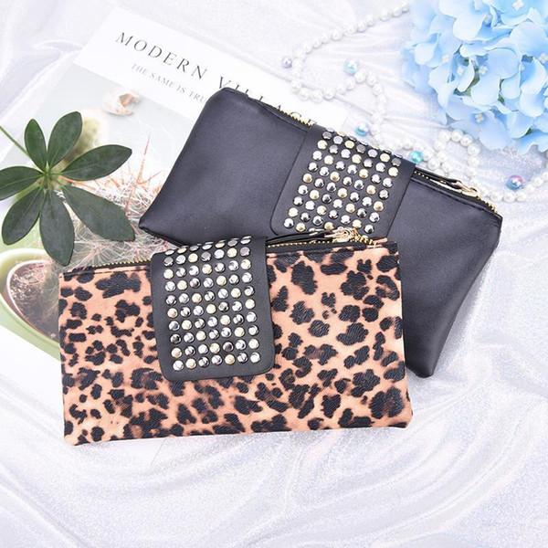 Women Handbag Leopard Print Clutch Bag Women Rivet Zipper Bags Wallet Holder Card Coin Clutch Purse Wristlet Evening Bag Gifts